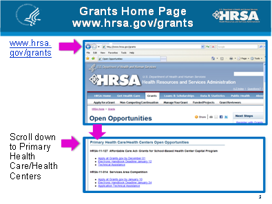HRSA Grants Homepage screenshot.