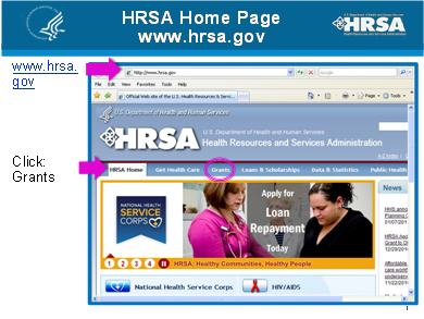 HRSA Homepage screenshot.