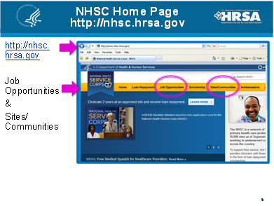 National Health Service Corps. Homepage screenshot.