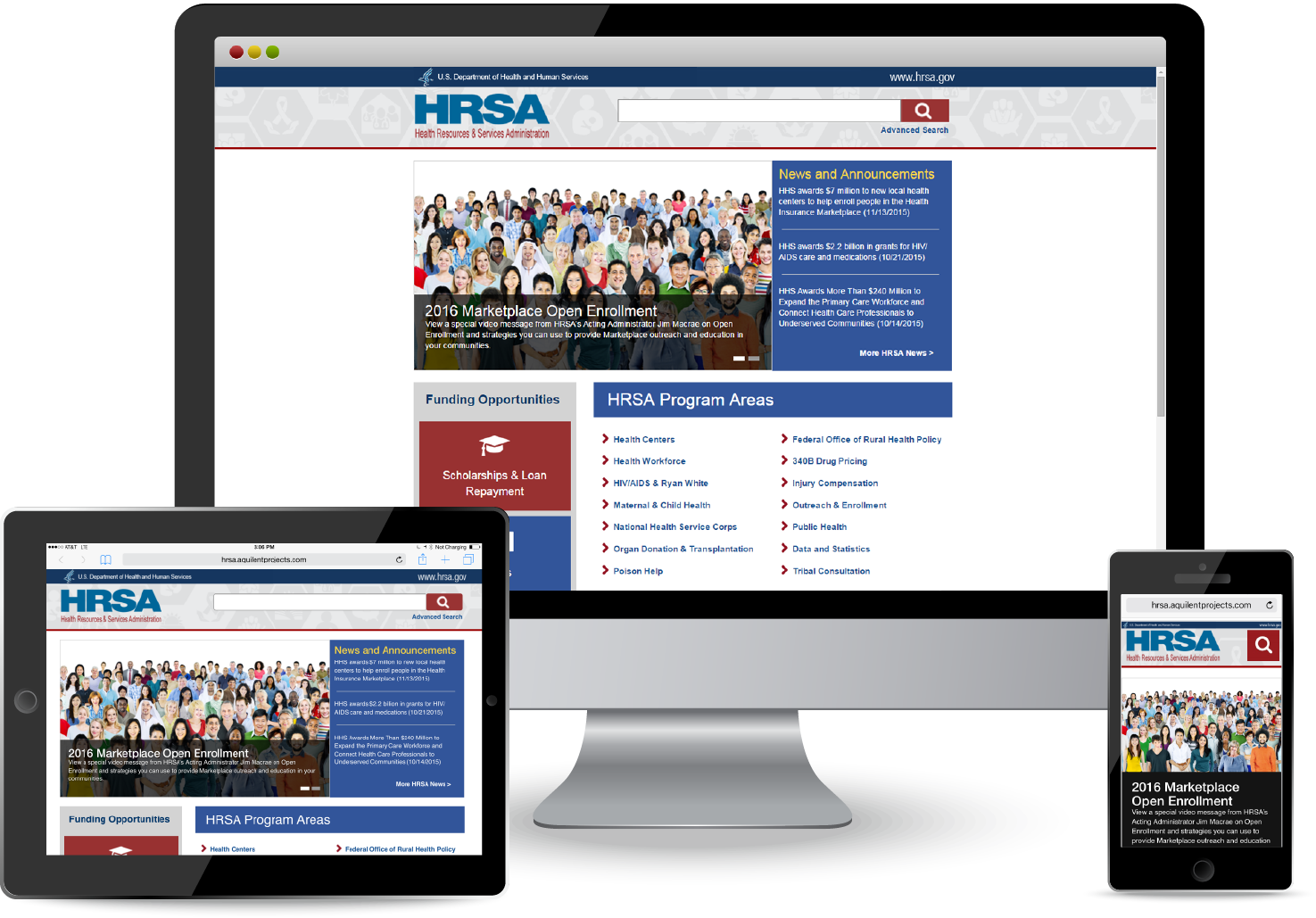 HRSA.gov responsive site displayed on a variety of devices.