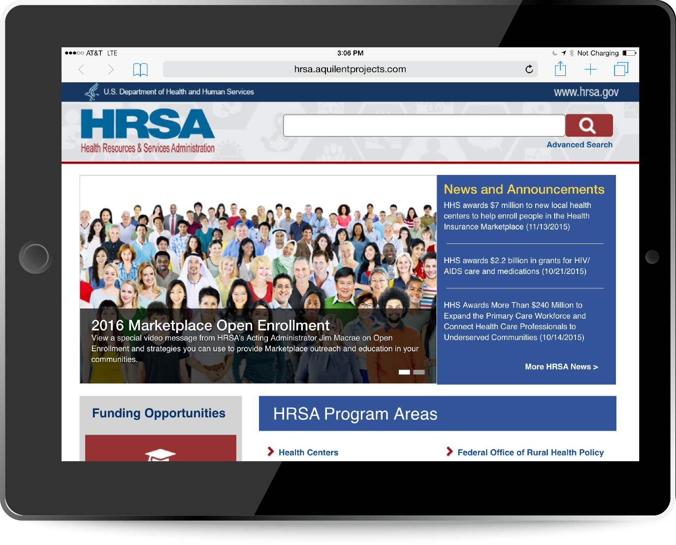 Mobile and tablet displays of the HRSA.gov responsive homepage