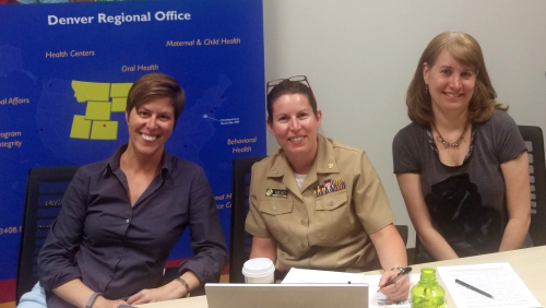 Valerie Gallo, CAPT Christina Mead and Kim Patton