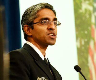 an image of U.S. Surgeon General Dr. Vivek Murthy speaking at an event