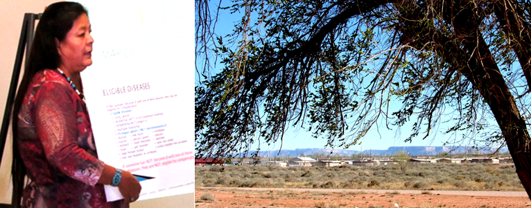 Two images. Left: Rena Gould of the IHS Northern Navajo Medical Center. Right: A  photograph of the Kayenta Homes in Arizona across a backdrop of open, western plains.