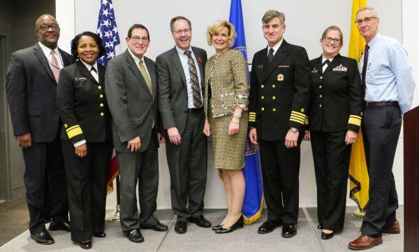 Pictured from left to right: Austin Demby, Dpty Dir., HRSA Office of Global Health; RADM Deborah Parham Hopson, HRSA/OA Senior Health Advisor; Ambassador Jimmy Kolker, HHS Asst. Secretary, Office of Global Affairs; Jim Macrae, HRSA Acting Administrator; Ambassador Birx; Dr. Mitchell Wolfe, HHS Dpty. Assistant Secretary, Office of Global Affairs; RADM Kerry Paige Nesseler, Dir., HRSA Office of Global Health; Carl Dieffenbach, Director, NIAID/DAIDS, NIH.