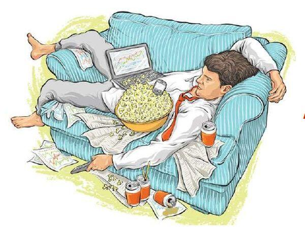 Clipart of a man relaxing on a couch with a bowl of popcorn, a laptop, and several soda cans lying around.