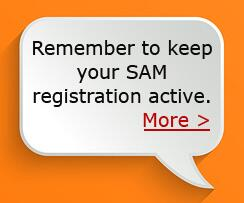 Remember to keep your SAM Registration Active. Click for more info