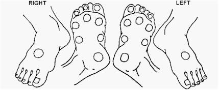 Diagrams of left and right feet with test areas